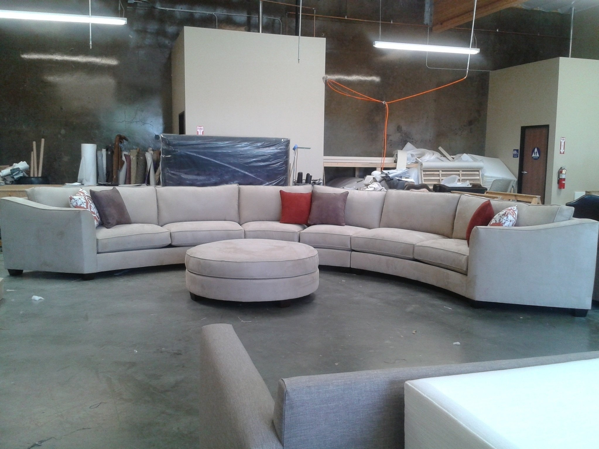 Curved Sectional Sofa Set Rich Comfortable Upholstered Fabric In Intended For Round Sectional Sofas (View 7 of 10)