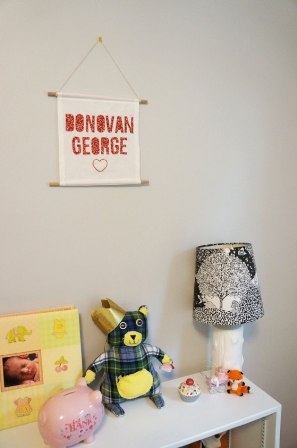 Custom Baby's Name Fabric Wall Banner | Aftcra Within Personalized Fabric Wall Art (Image 6 of 15)
