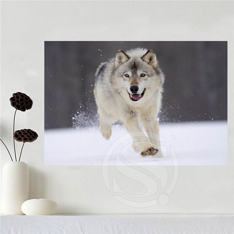 Custom Canvas Poster Art Cool Wolf Home Decoration Poster Cloth In Custom Fabric Wall Art (Image 4 of 15)
