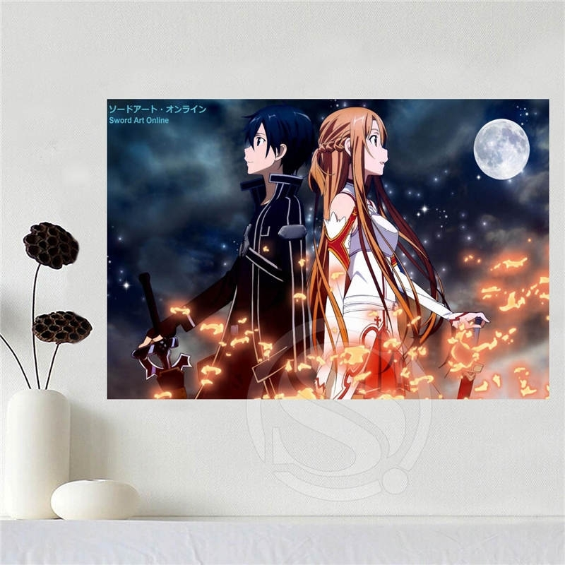 Custom Canvas Poster Art Sword Art Online Poster Cloth Fabric Wall With Silk Fabric Wall Art (Image 4 of 15)