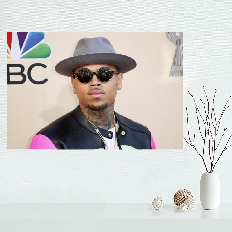 Custom Chris Brown Canvas Poster Wall Art Home Decoration Cloth Intended For Custom Fabric Wall Art (Image 5 of 15)