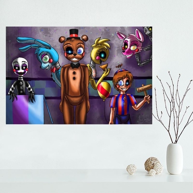 Custom Five Nights At Freddy's Canvas Painting Poster Home Decor Throughout Custom Fabric Wall Art (View 6 of 15)
