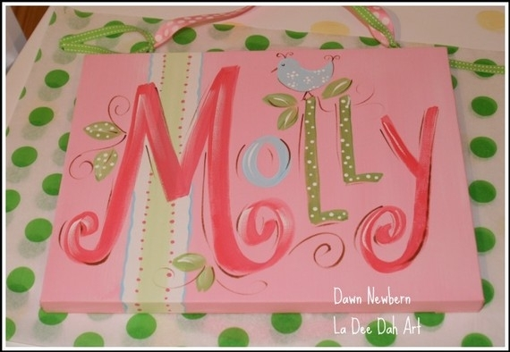Custom Hand Painted Name Plaque Canvas Airplane Design | Custom In Custom Nursery Canvas Wall Art (View 12 of 15)