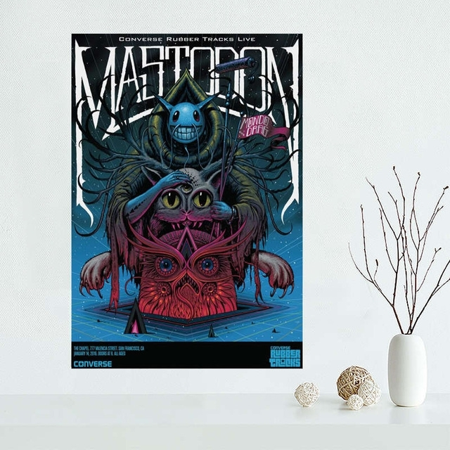 Custom Mastodon Canvas Painting Poster Cloth Silk Fabric Wall Art Intended For Silk Fabric Wall Art (Image 6 of 15)