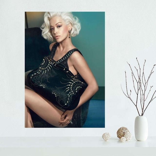 Custom Rita Ora Canvas Painting Poster Cloth Silk Fabric Wall Art Intended For Silk Fabric Wall Art (Image 7 of 15)