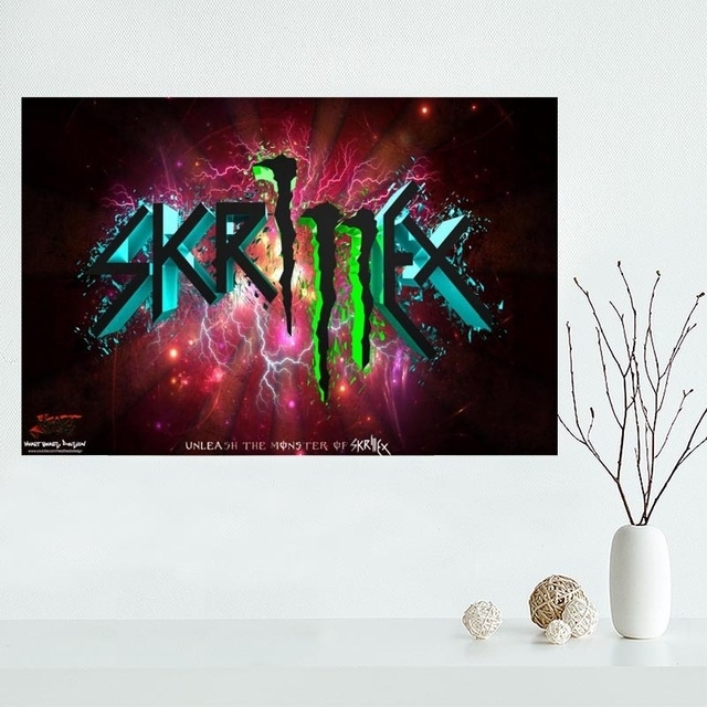 Custom Skrillex Logo Canvas Painting Poster Cloth Silk Fabric Wall Within Silk Fabric Wall Art (View 4 of 15)