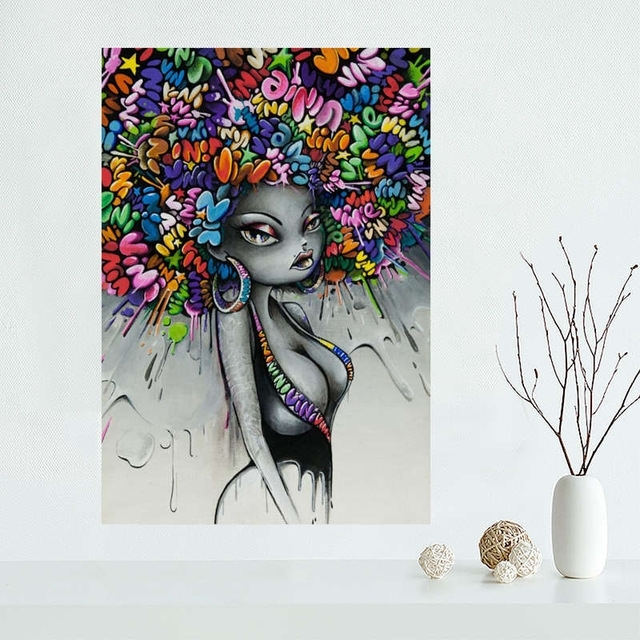 Custom Vinie Graffiti Canvas Painting Poster Cloth Silk Fabric Within Custom Fabric Wall Art (Image 7 of 15)