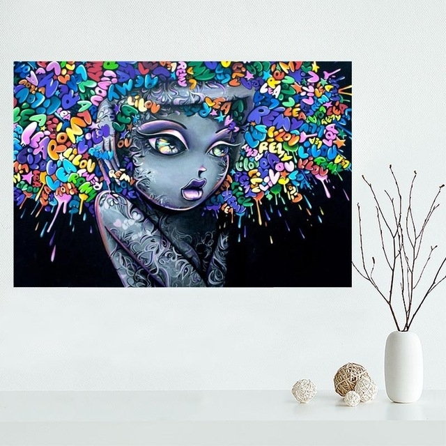 Custom Vinie Graffiti Canvas Poster Wall Art Print Home Decoration Pertaining To Purple Fabric Wall Art (View 3 of 15)