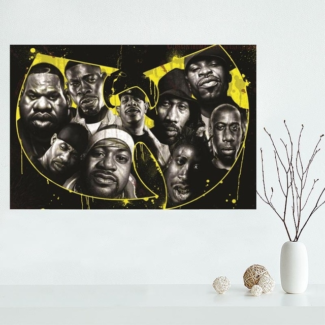 Custom Wu Tang Canvas Painting Poster Cloth Silk Fabric Wall Art Pertaining To Silk Fabric Wall Art (View 10 of 15)