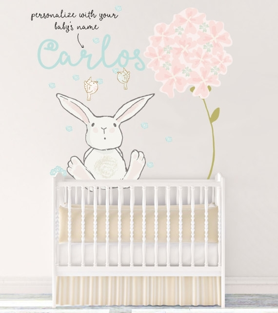 Customized Nursery Fabric Wall Decal Boy Name Reusable Bunny Pertaining To Fabric Wall Art For Nursery (Image 5 of 15)