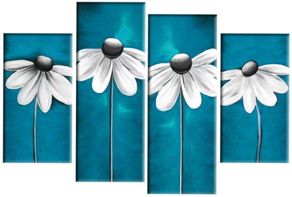 Daisies In Teal Grey White Floral Daisy Line 4 Panel Canvas Wall Inside Blue Canvas Wall Art (Image 7 of 15)