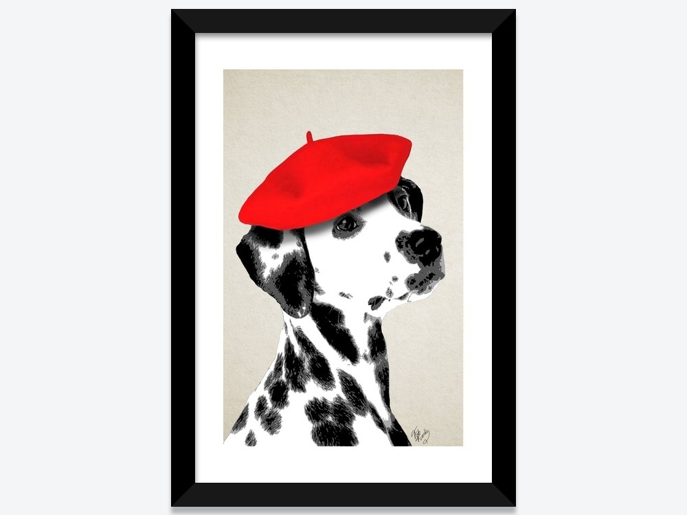 Dalmatian With Red Beret Framed Art Printfab Funky | Icanvas Intended For Funky Art Framed Prints (View 3 of 15)