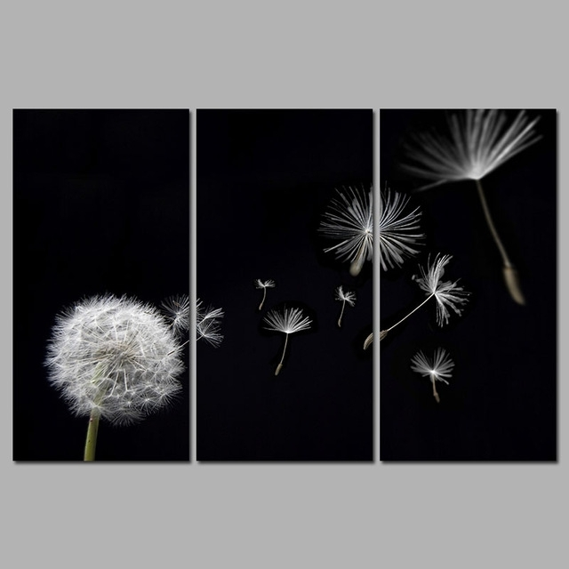 High Quality Dandelion Flower Flying Black And White Decoration Canvas Inside Dandelion  Canvas Wall Art (Photo 7
