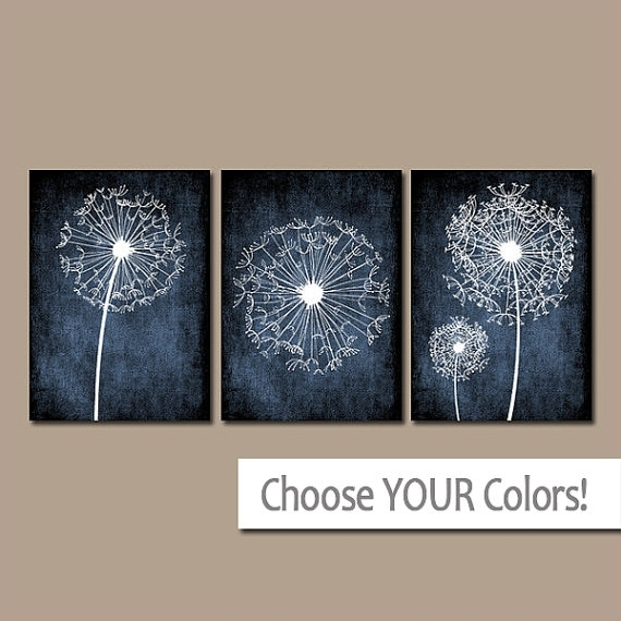 Dandelion Wall Art Bedroom Pictures Flower Navy Blue Grunge Within Navy Canvas Wall Art (Image 6 of 15)