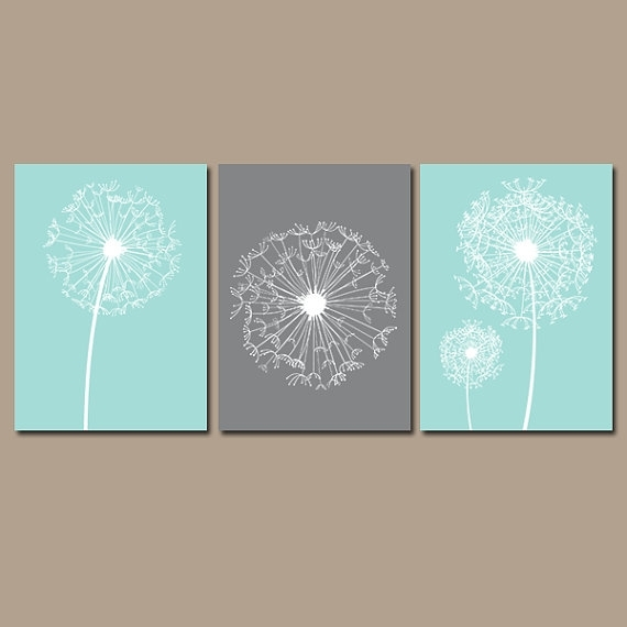 Dandelion Wall Art Canvas Or Prints Aqua Gray Bedroom Inside Dandelion Canvas Wall Art (View 2 of 15)