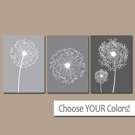 Dandelion Wall Art Gray Ombre Bedroom Pictures Canvas Or Intended For Bathroom Canvas Wall Art (Image 7 of 15)