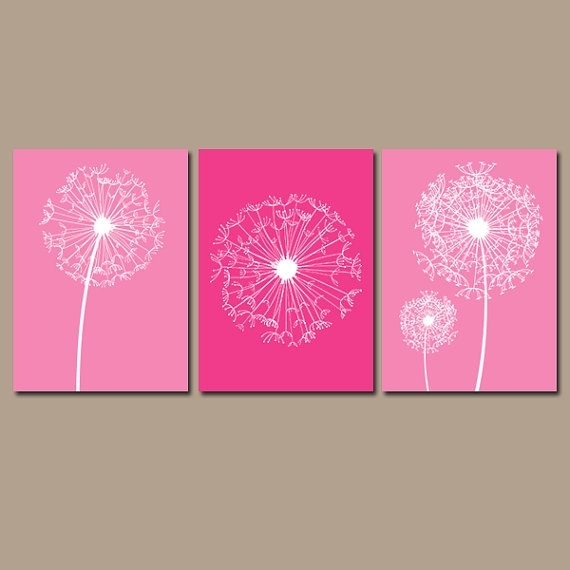 Dandelion Wall Art – Hot Pink Bedroom Pictures – Canvas Or Prints Throughout Pink Canvas Wall Art (View 10 of 15)