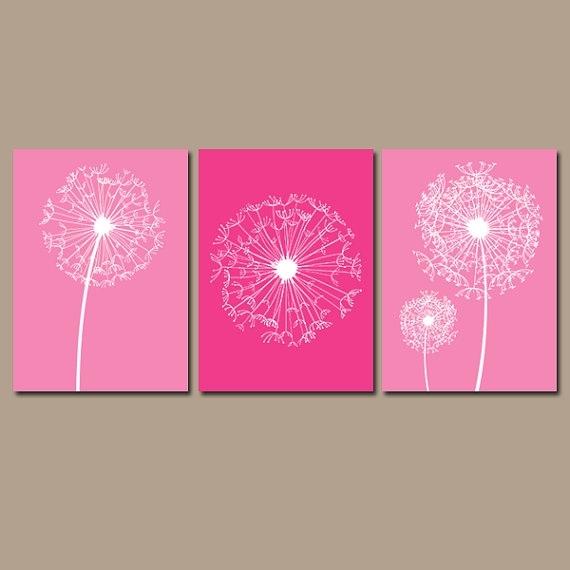 Dandelion Wall Art – Hot Pink Bedroom Pictures – Canvas Or Prints With Dandelion Canvas Wall Art (Image 4 of 15)