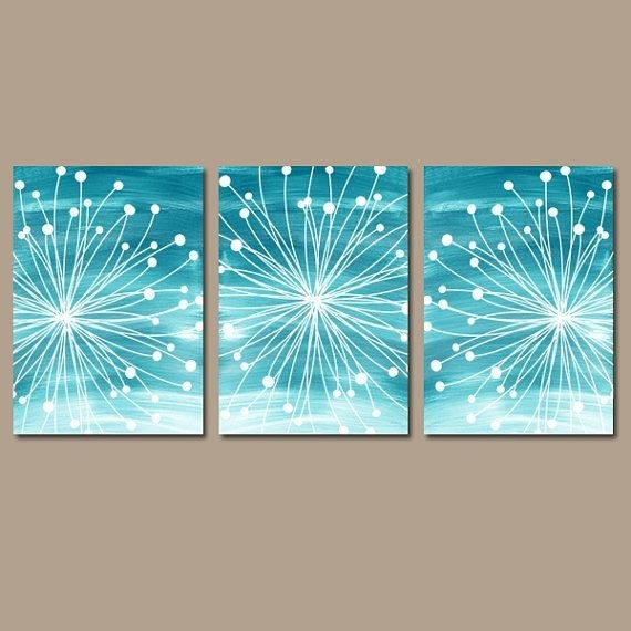 Dandelion Wall Art – Teal Bedroom Wall Art – Watercolor Canvas Or Within Dandelion Canvas Wall Art (View 9 of 15)