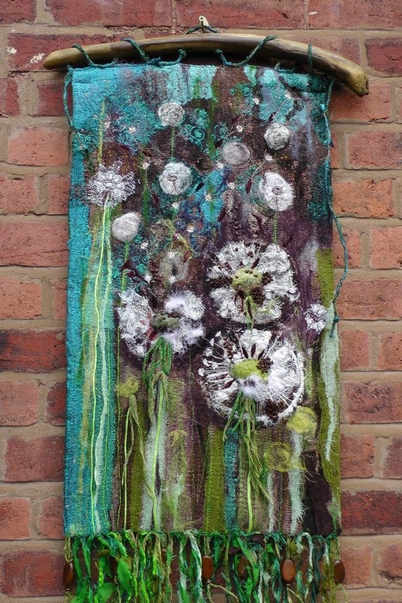 Dandelions. Textile Wall Hanging. Fibre Art. Seeds (Image 2 of 15)