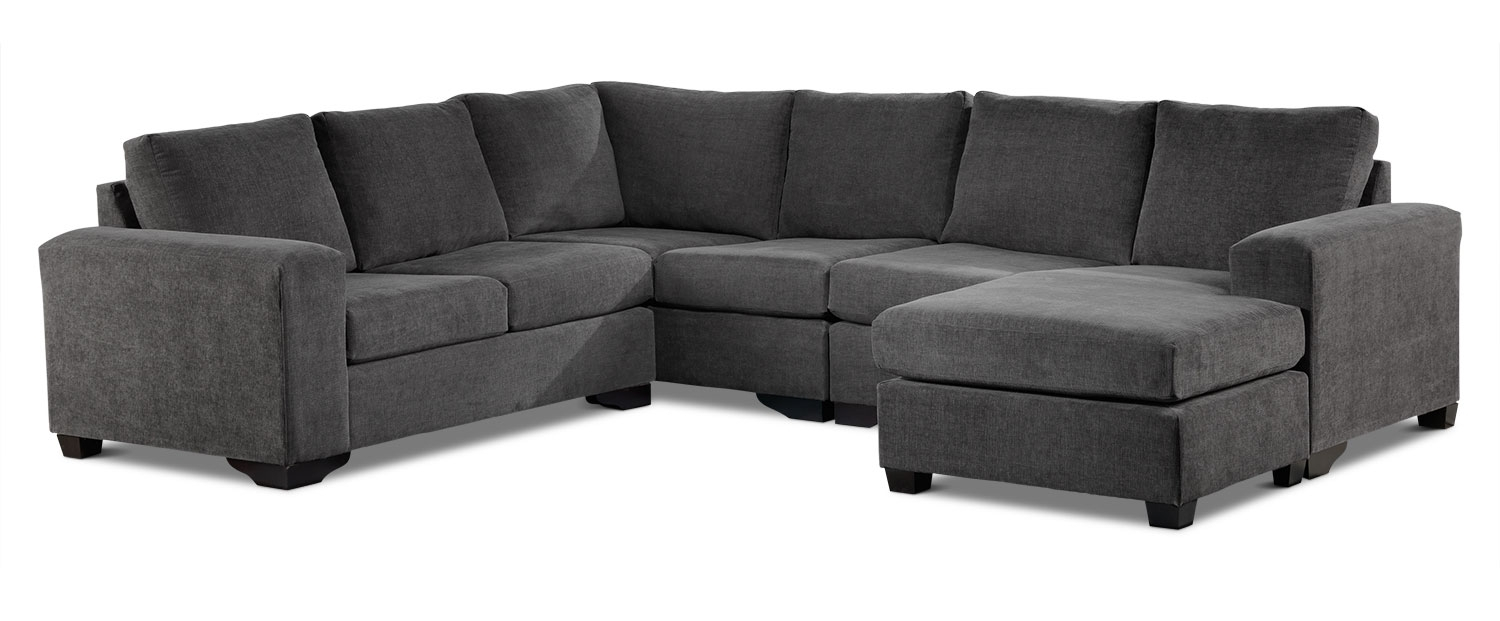 Danielle 3 Piece Sectional With Right Facing Corner Wedge – Grey For Leons Sectional Sofas (Image 1 of 10)