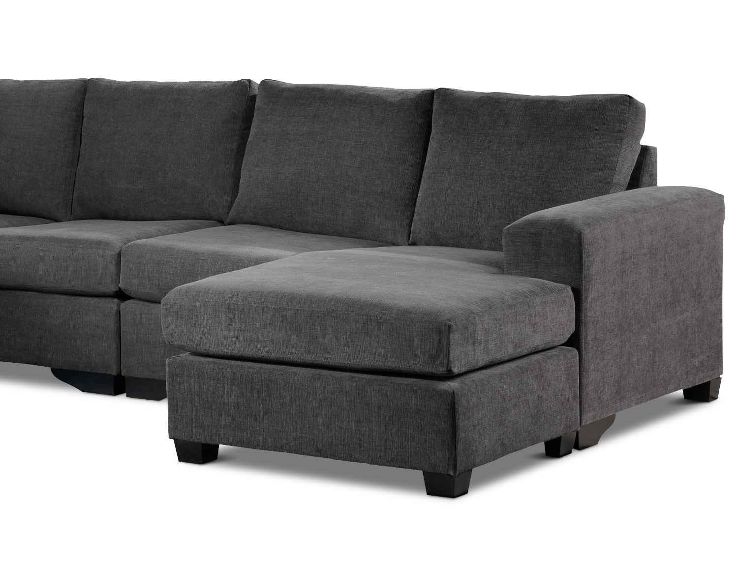 Danielle 3 Piece Sectional With Right Facing Corner Wedge – Grey Intended For Leons Sectional Sofas (Image 2 of 10)