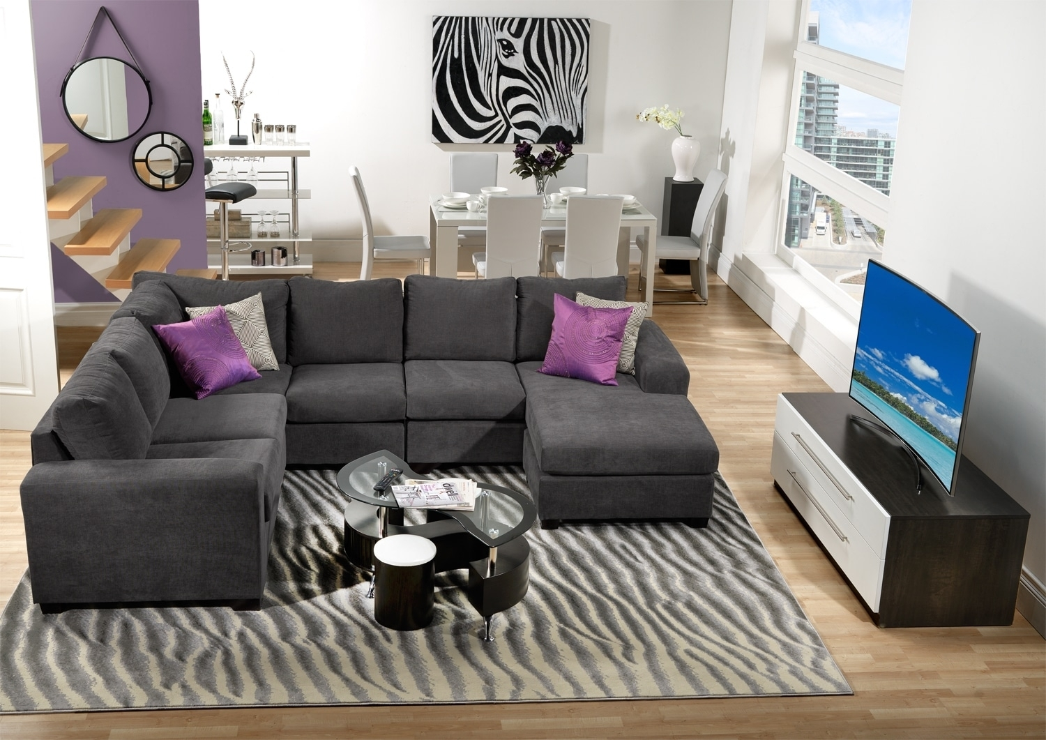 Danielle 3 Piece Sectional With Right Facing Corner Wedge – Grey Throughout Leons Sectional Sofas (Image 3 of 10)