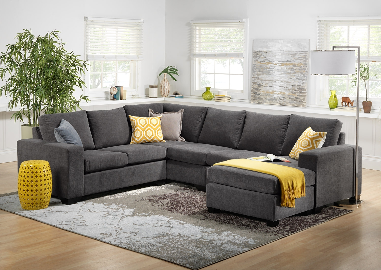 Danielle 3 Piece Sectional With Right Facing Corner Wedge – Grey With Regard To Sectional Sofas At Bc Canada (Image 2 of 10)