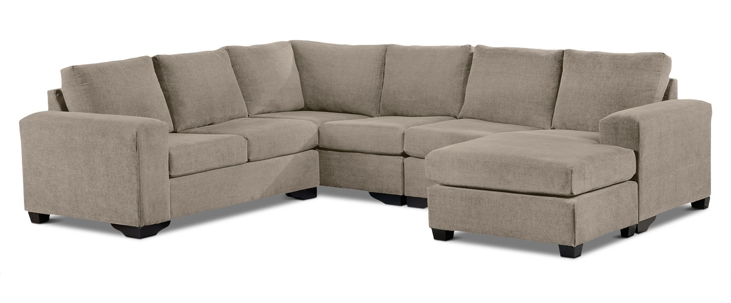 Danielle 3 Piece Sectional With Right Facing Corner Wedge – Pewter In Leons Sectional Sofas (Image 4 of 10)