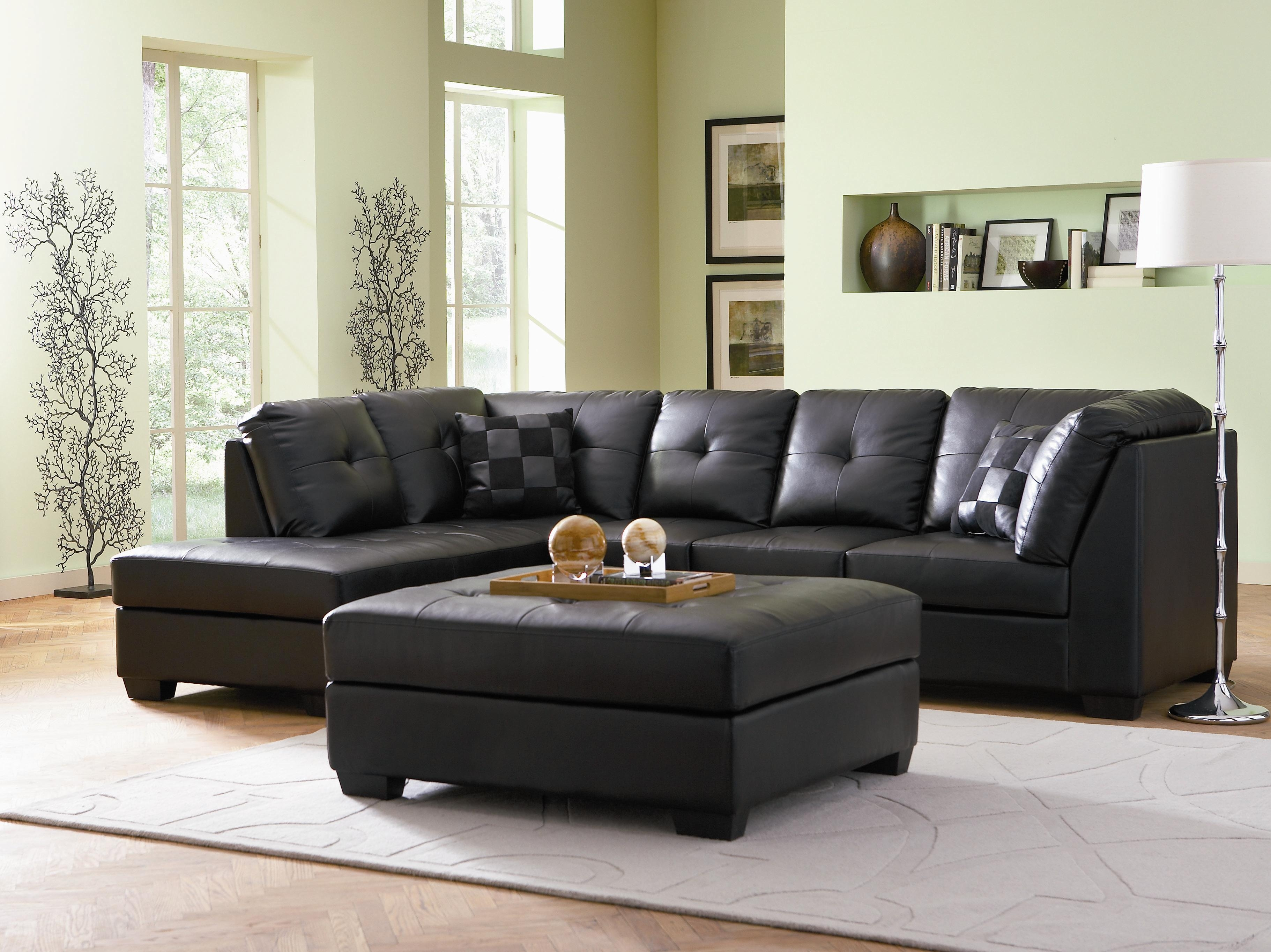 Darie Contemporary Style Black Bonded Leather Sofa Sectional W For Black Leather Sectionals With Ottoman (Image 4 of 10)