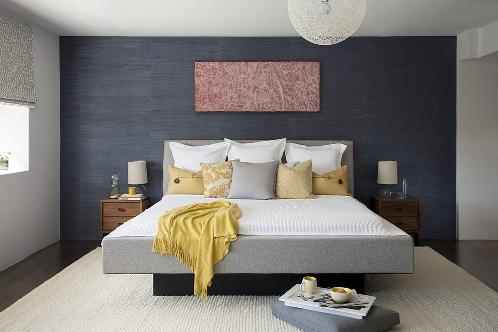 Dark Blue Accent Wall Accent Wall Gray Bedroom Contemporary With With Regard To Blue Wall Accents (Image 10 of 15)