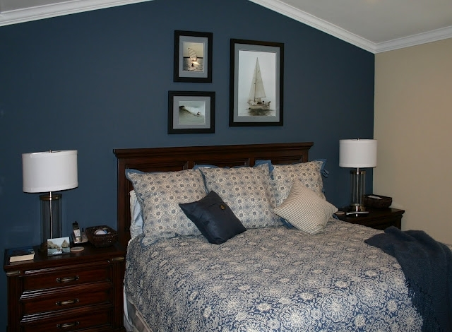 Dark Blue Accent Wall We Could Do This In Our Master | For The With Wall Accents For Blue Room (View 3 of 15)