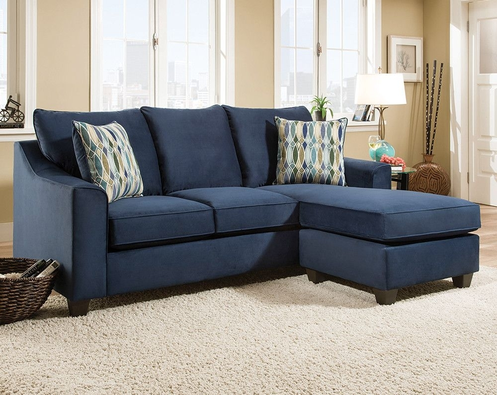 Dark Blue Sofa With Accent Pillows | Nile Blue 2 Pc (Image 7 of 10)