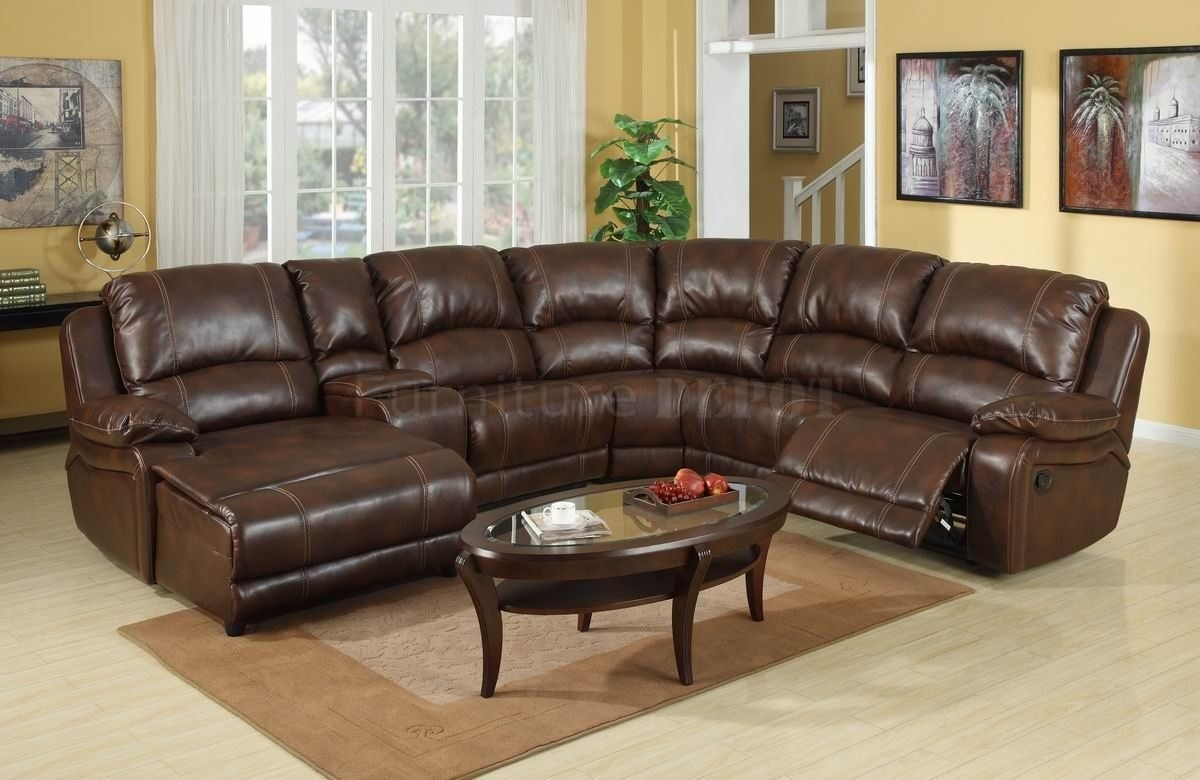 Dark Brown Leather Sectional Sofa With Recliner And Coffee Table Throughout Leather Sectional Sofas (View 8 of 10)