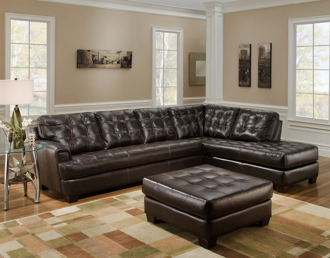 Dark Brown Leather Tufted Sectional Chaise Lounge Sofa With Ottoman With Leather Sectionals With Ottoman (View 8 of 10)