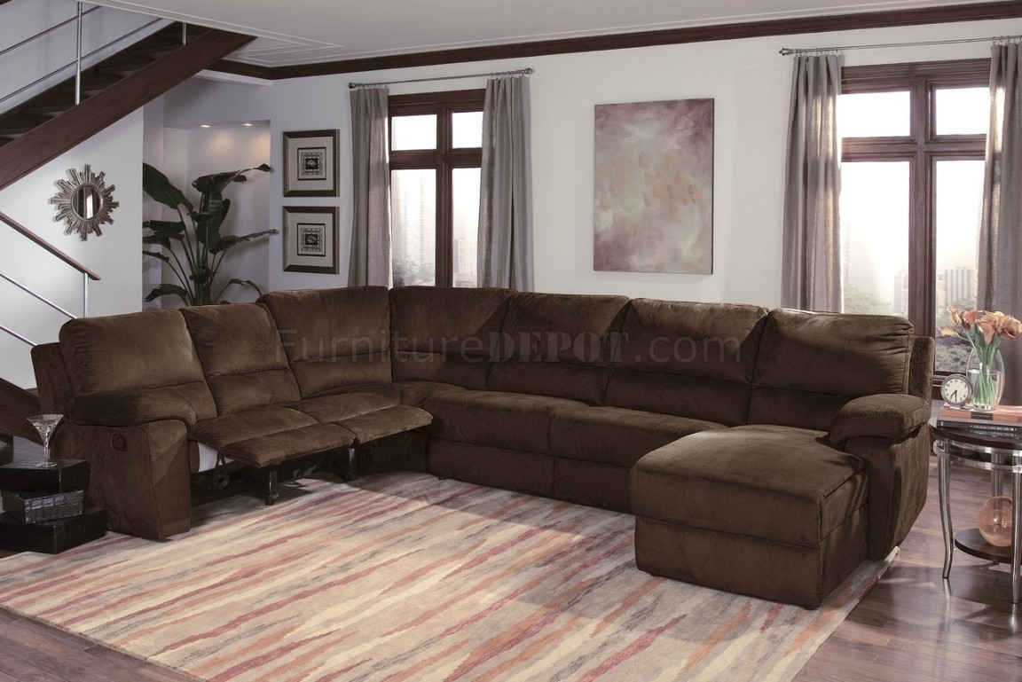 Dark Chocalate Micro Suede Contemporary Reclining Sectional Sofa Intended For Reclining Sectional Sofas (Image 7 of 10)