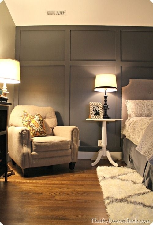Dark Gray Accent Wall | Batten, Dark Grey And Dark Pertaining To Wall Accents Behind Bed (Image 7 of 15)