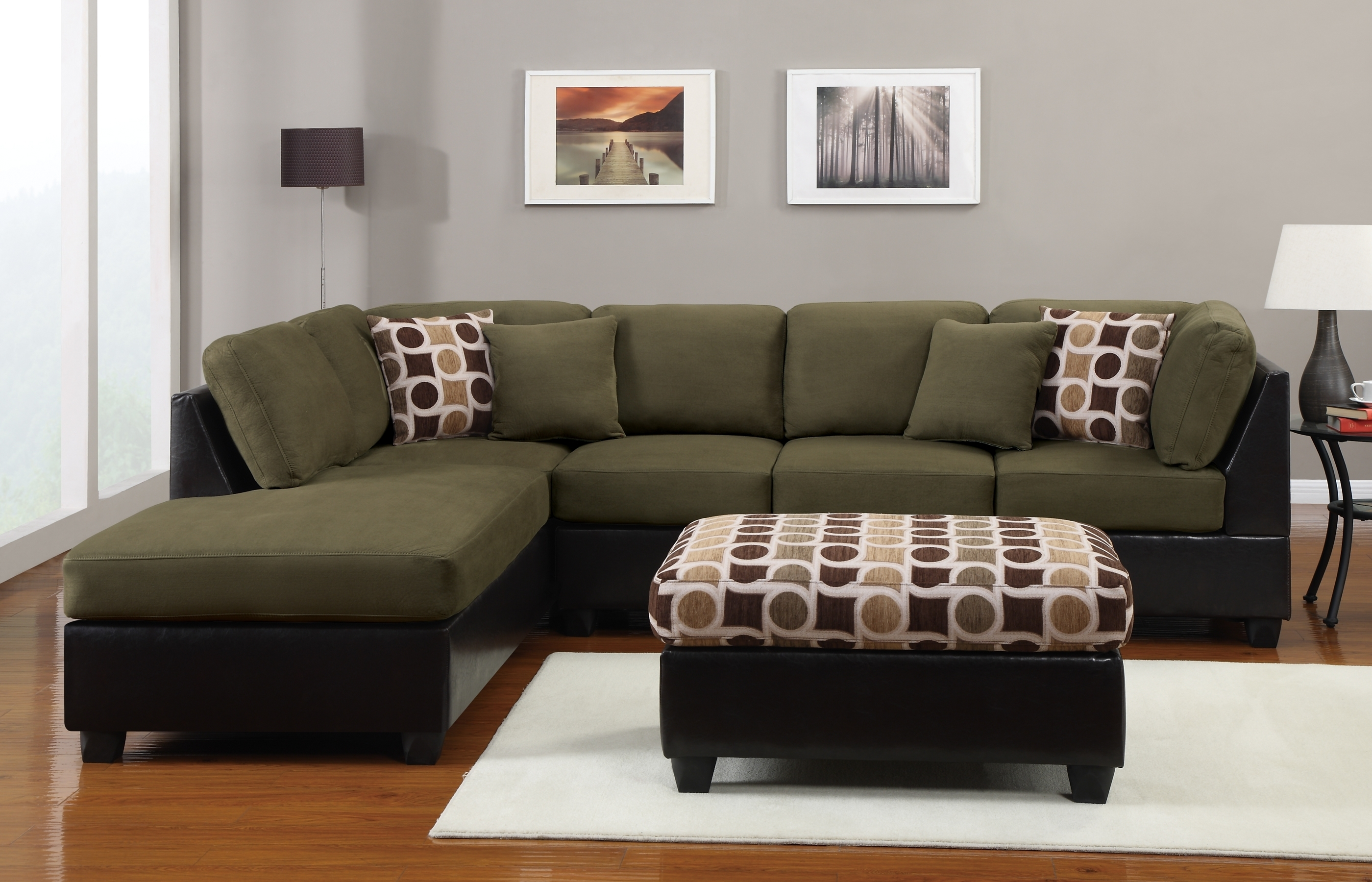 Dark Green Sectional Sofa • Sectional Sofa With Green Sectional Sofas With Chaise (Image 2 of 10)