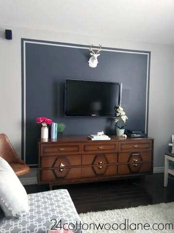 Dark Grey Tv Accent Wall | Grey Tvs, Tvs And Walls Pertaining To Wall Accents Behind Tv (Image 5 of 15)