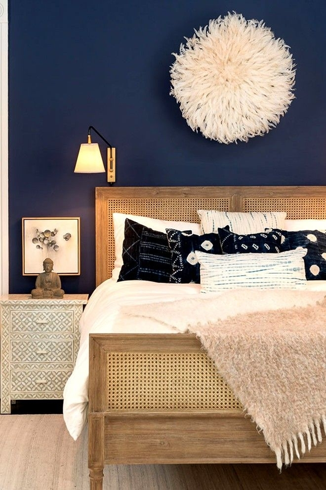 Dark Navy As An Accent Wall Color | Bedroom Remodel | Pinterest With Regard To Navy Wall Accents (Image 6 of 15)