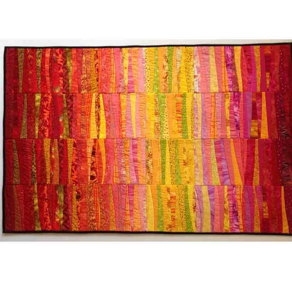 Dawn Quilted Wall Hanging. Abstract Textile Art. Modern Quilt (View 7 of 15)