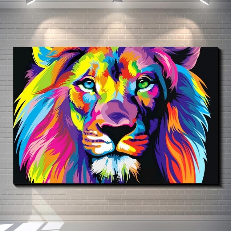 Dazzle Colour Lion Painting Pictures Abstract Art Print On The Intended For Abstract Lion Wall Art (View 5 of 15)