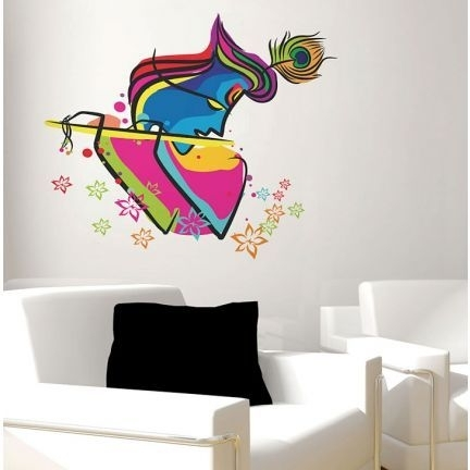 Decal Dzine Abstract Art Krishna Wall Sticker – Add Oodles Of Intended For Abstract Graphic Wall Art (View 4 of 15)