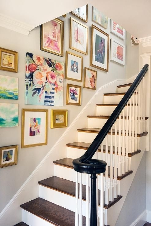 Decorating Crush: Hanging Art In The Stairwell | Staircases Inside Staircase Wall Accents (Image 4 of 15)