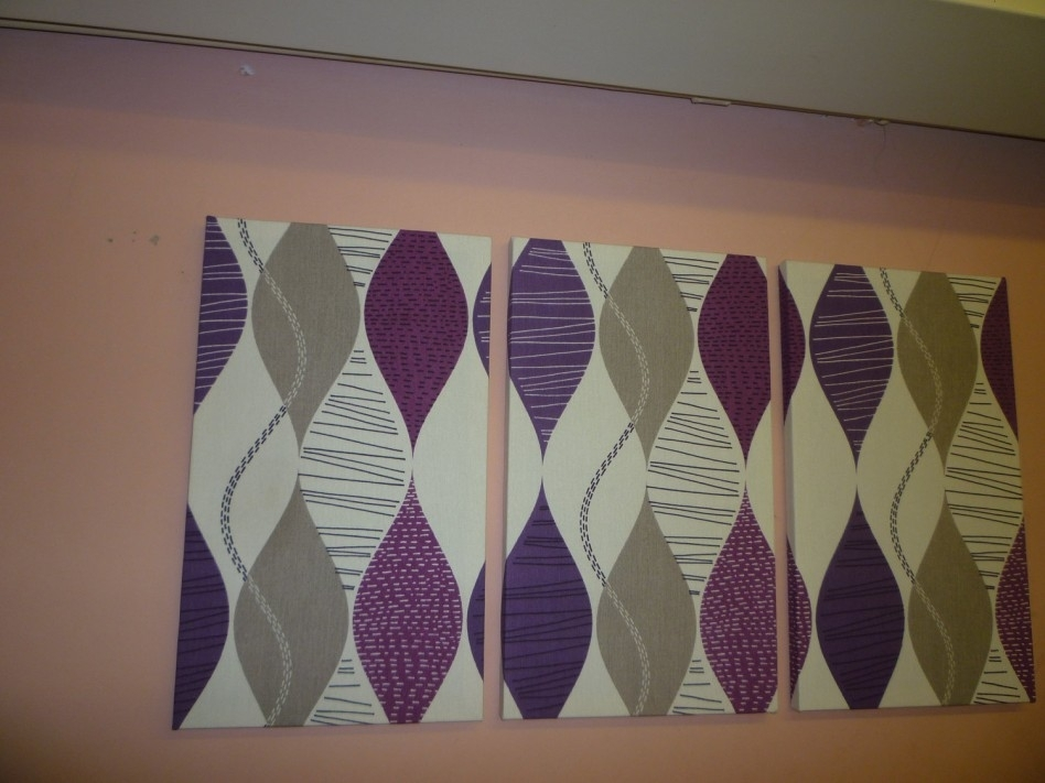 Decoration Ideas: Inspiring Wall Decoration For Living Room Area With Regard To Purple Fabric Wall Art (Image 6 of 15)