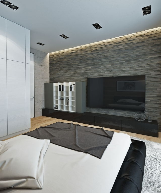 Decorations : Amazing Grey Stone Accent Wall Plus Modern Lcd Tv Within Gray Wall Accents (View 12 of 15)