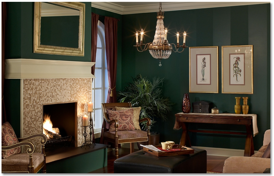 Decorations : Classic Victorian Living Room Decoration Ideas With Regarding Green Wall Accents (Image 8 of 15)