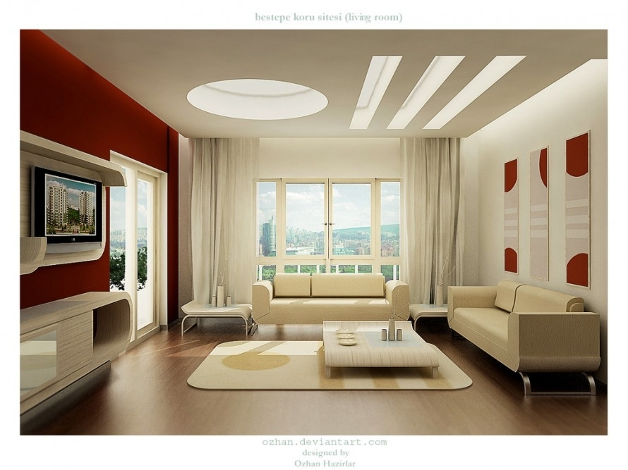 Decorations : Contemporary Large Living Room Design With Maroon Pertaining To Maroon Wall Accents (View 3 of 15)