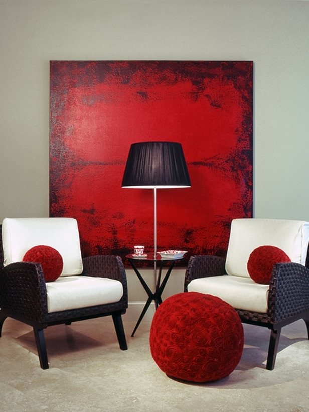 Decorations : Excellent Red Color Wall Art Painting Decoration Inside Wall Art Accents (View 2 of 15)