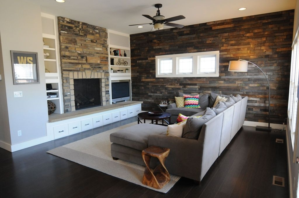 Decorations : Favorable Natural Brick And Stone Living Room Accent In Wall Accents For L Shaped Room (Image 2 of 15)